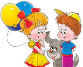 Puppy playing with a boy and girl with balloons — Stock Photo