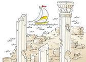 Barca a vela nei pressi di antiche rovine architettoniche con colonne — Foto Stock