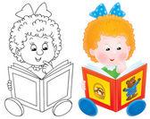 Cartoon girl reading a story book — Stock Photo