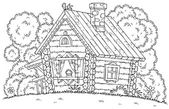 Coloring page outline of a chicken atop a log cabin — Stock Photo