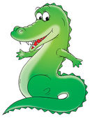 Sharp toothed green gator smiling — Stock Photo