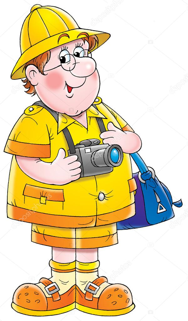 Happy male tourist with a bag and camera — Stock Photo ...
