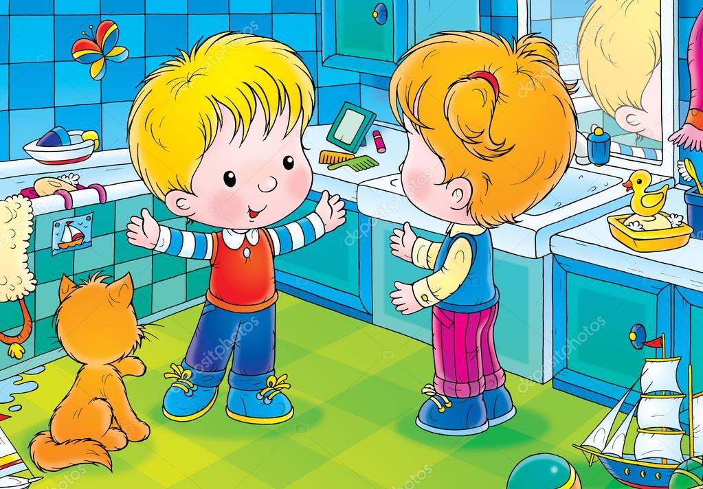 Imagenes De Un Baño Animado:niños de cuarto de baño – Imagen de stock