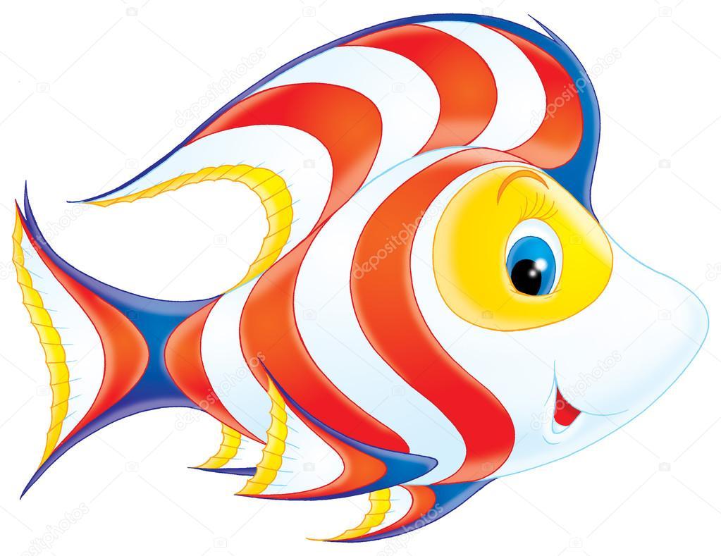 可爱的白色, 黄色, 蓝色和橙色鱼与波浪图案和蓝色的