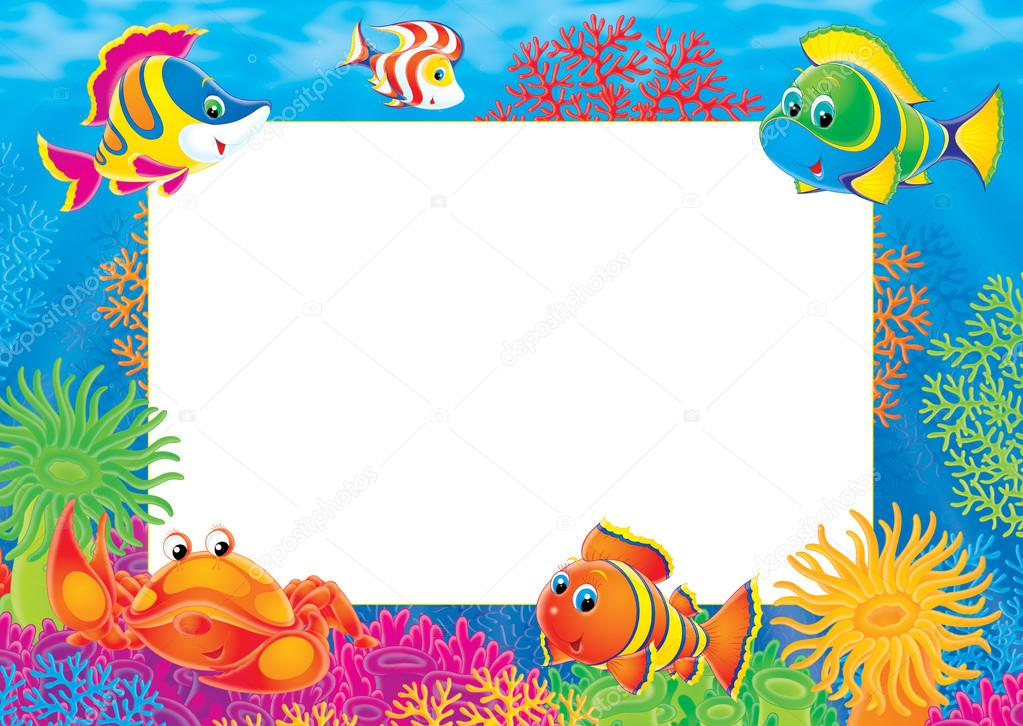 Underwater Stationery Border Of Crabs And Marine Fish On A