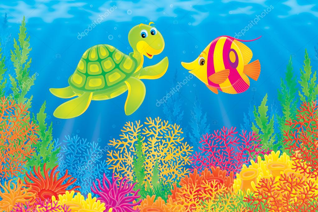 Underwater scene of a friendly sea turtle chatting with a for Fish scenery drawing
