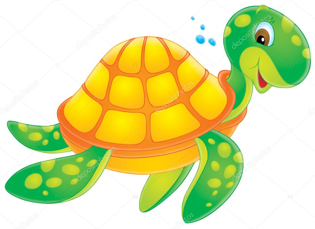 Animated turtle swimming