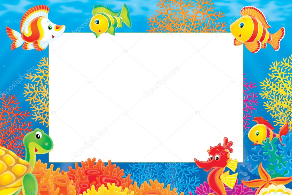 underwater stationery border of a seahorse  u2014 stock photo