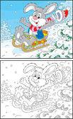Rabbit sledding — Stock Vector