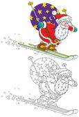 Santa skiing with Christmas gifts — Stockvector