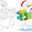 Snowman with Christmas gifts — Stock Vector