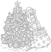 Santa claus en kerstboom — Stockvector