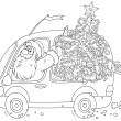 Santa carries a Christmas tree — 图库矢量图片