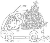 Santa carries a Christmas tree — Stock Vector