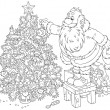 Santa decorates a Christmas tree — 图库矢量图片