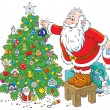 Santa Claus decorating a Christmas tree — Stock Vector