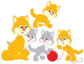 Cat and kittens — Stock Vector