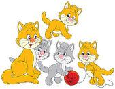 Kat en kleine katjes — Stockvector