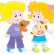 Stock Vector: Girls playing