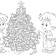 Children decorating a Christmas tree — Stock Vector #36574007