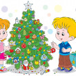 Children decorating a Christmas tree — Stock Vector #36574013