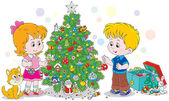 Children decorating a Christmas tree — Stock Vector