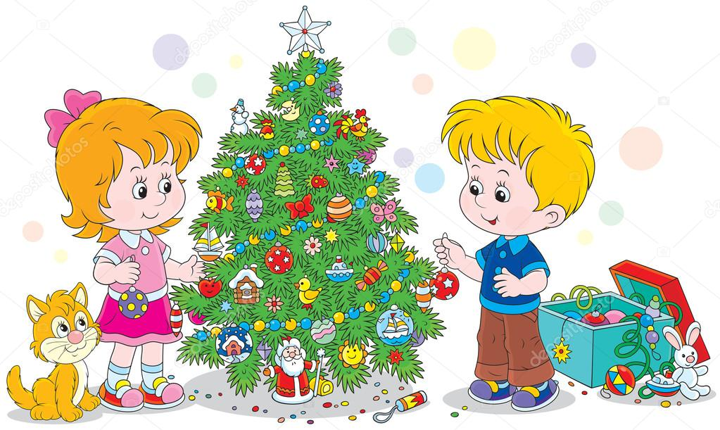 Ni os decorar un rbol de navidad archivo im genes - Arbol de navidad para ninos ...