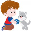 Boy and kitten — Stock Vector