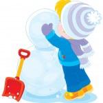 Child makes a snowman — Stock Vector