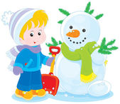 Child and snowman — Stock Vector