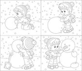 Child makes a snowman — Stock Vector