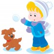 Child plays with a pup — Stock Vector