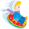 Child with an inflatable snow tube — Stock Vector