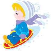 Child on an ice-boat — Stock Vector
