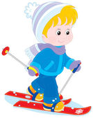Child skiing — Stock Vector