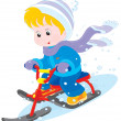 Stock Vector: Child on snow scooter