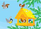 Comedero para pájaros — Vector de stock