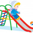 Stock Vector: Child on slide