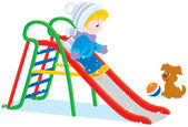 Child on a slide — Stock Vector