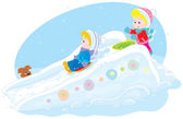 Children on an ice-run — Stock Vector