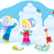 Stock Vector: Children building snow fort