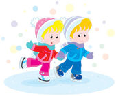 Children skating — Stock Vector