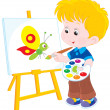 Little artist draws — Stock Vector