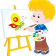 Stock Vector: Little artist draws