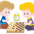 Children play checkers — Stock Vector #37414861