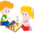 Stock Vector: Children play chess