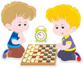 Children play checkers — Stock Vector