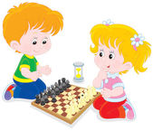 Children play chess — Stock Vector