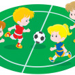 Stock Vector: Children playing football
