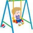 Stock Vector: Boy on swing